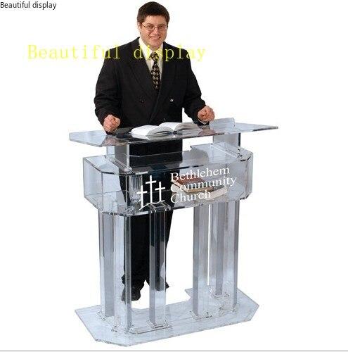Envío Gratis acrílico rostro acrílico Podiums púlpitos acrílico púlpito atril cristal pmma acrílico plexiglás logo personalizado