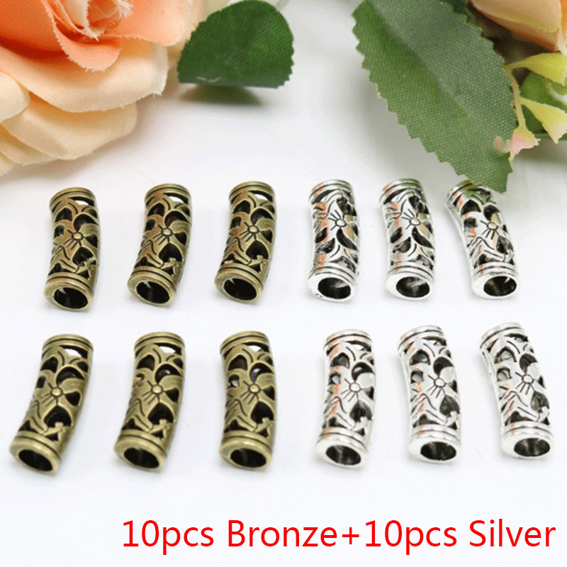 20pcs Tibetan Silver Curved Tube Spacer Beads Connector Jewelry DIY Spacer