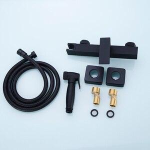 Image 5 - Латунный ручной распылитель для биде и душа с регулируемым клапаном и комплектом шлангов для душа 1,5 м, настенное крепление, матовый черный