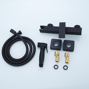 Image 5 - Messing Handheld Bidet Douche Sproeier Met Warm En Koud Mengkraan & 1.5 M Doucheslang Kit Muur Mount Matte zwart