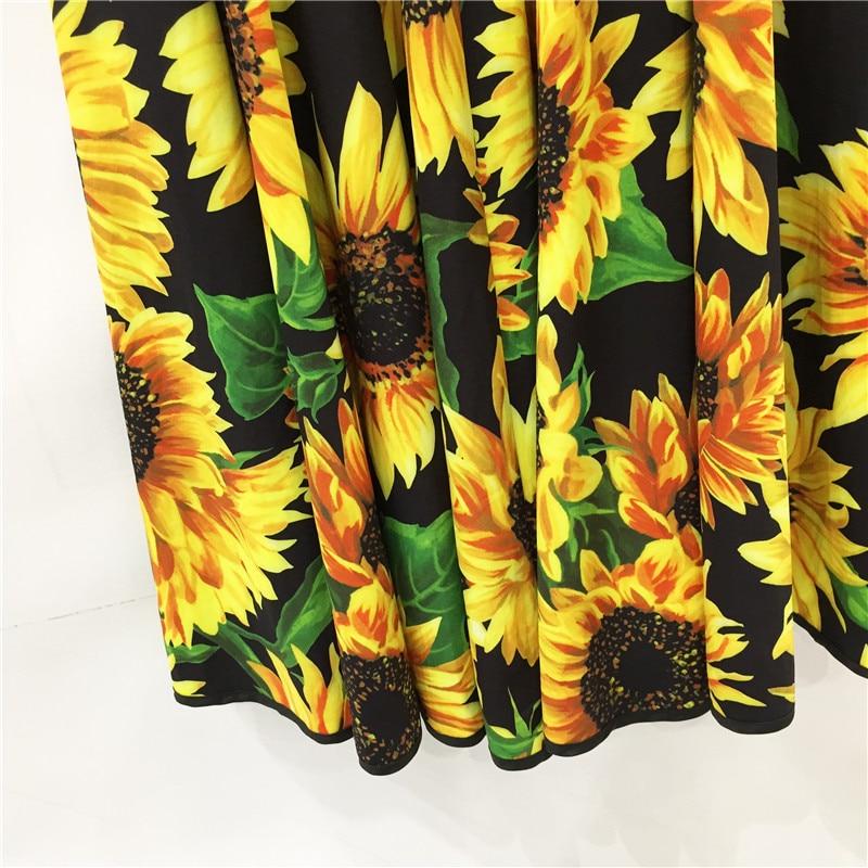 Designer de moda outono cristal lantejoulas vestido feminino manga curta em torno do pescoço girassol vintage floral impressão férias midi vestido - 6