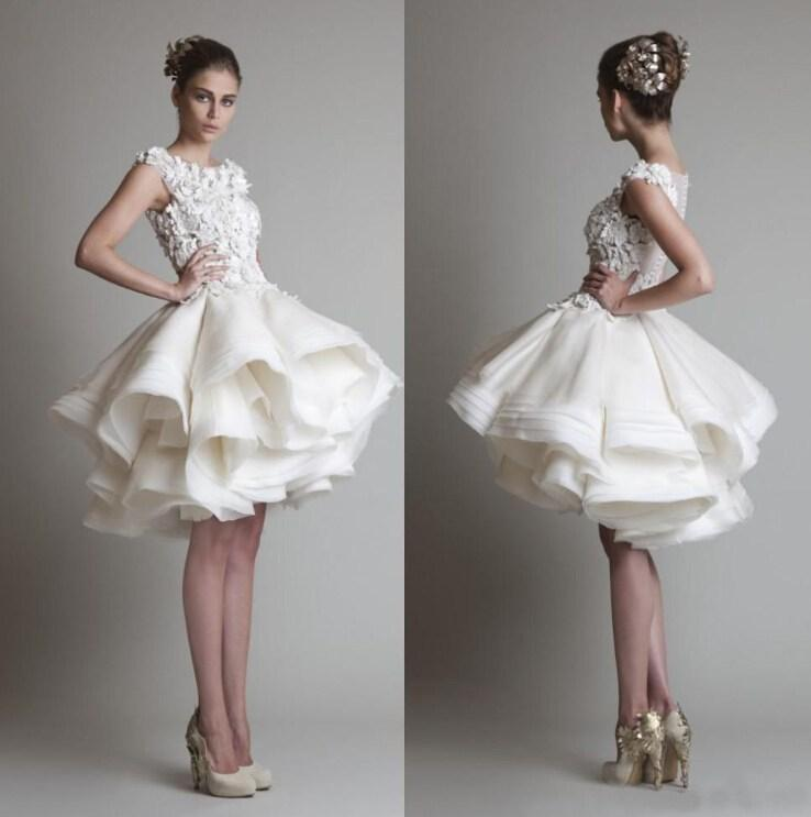 Krikor Jabotian Short Lace Wedding Dresses Bateau Cap Sleeves Backless Knee Length Organza Beach Bridal Gowns Robe De Mariage