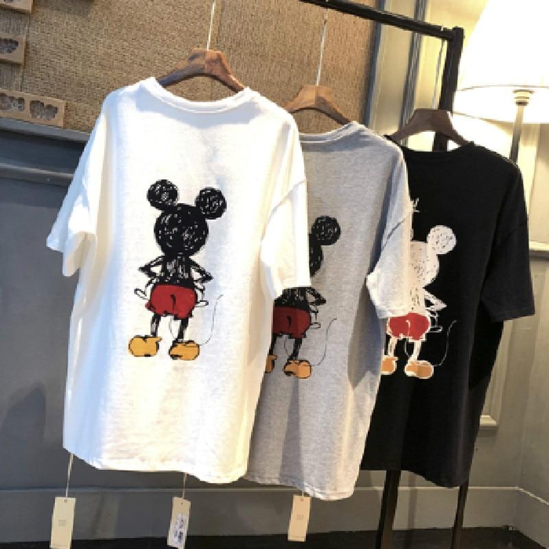 Summer Women Short Sleeve T-shirt Cartoon Mouse Print O Neck Tees Large Size Tshirt Ins Long Bottoming Shirt Losse Harajuku Tops