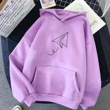Impressão avião de papel hoodies mulheres pullovers oversized harajuku outono inverno hoodied femal solto casual streetwear moletom