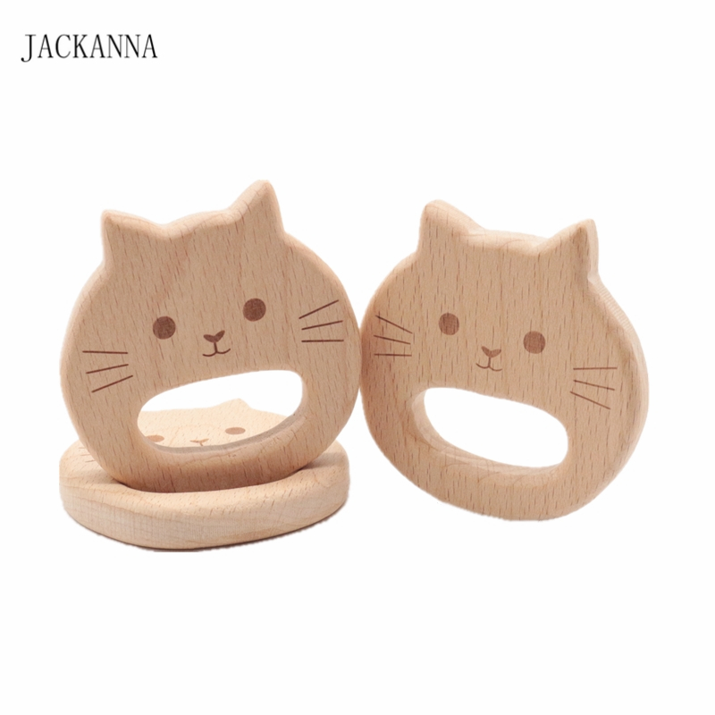 Cartoon Cat Wood Teether BPA Free Chew Toys DIY Handmade Teething Accessories Organic Baby Toy Beech Wood Animal Baby Teether