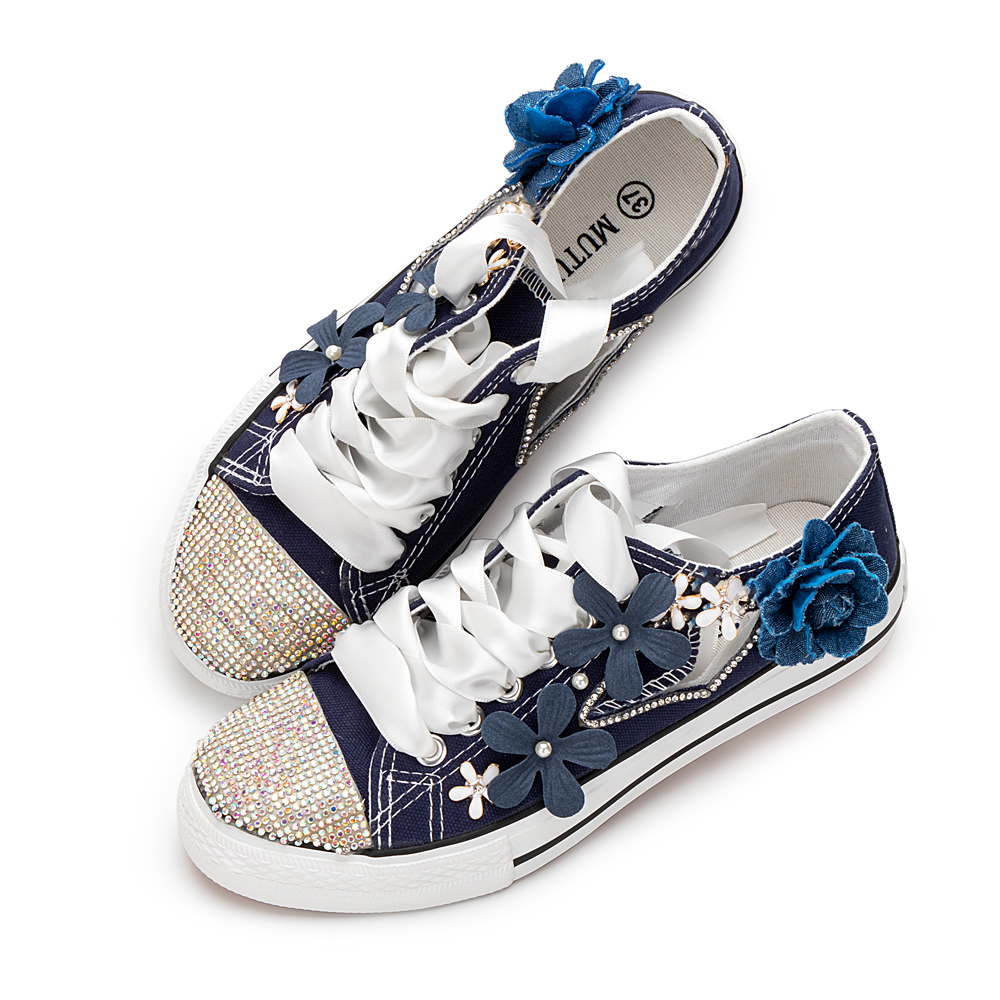 Canvas Shoes Sewed Blue Flowers Women's Sandals Flats Hollowed Strap Breathable Tide Low Heels Shoes White Shoes Big Size