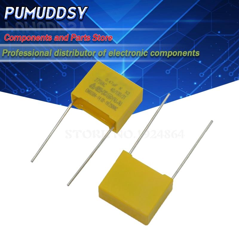 10 шт. 470nF конденсатор с алюминиевой крышкой, X2 конденсатор с алюминиевой крышкой, 275VAC шаг 15 мм X2 полипропиленовый пленочный конденсатор с алю...
