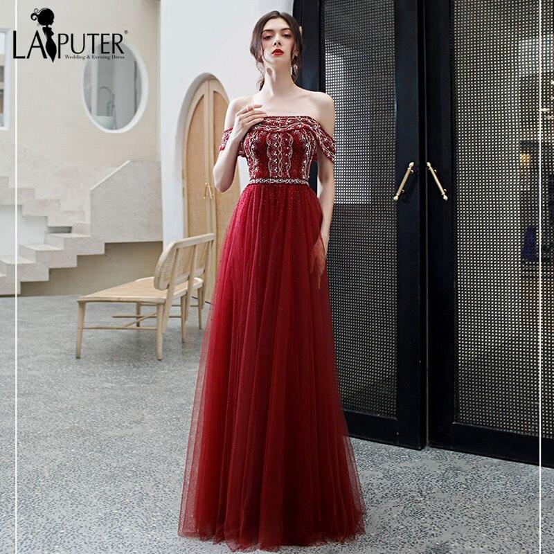 LAIPUTER rouge foncé dernière conception Sexy robes de soirée 2020 a-ligne perles paillettes étincelle épaules nues robe formelle vraie Photo