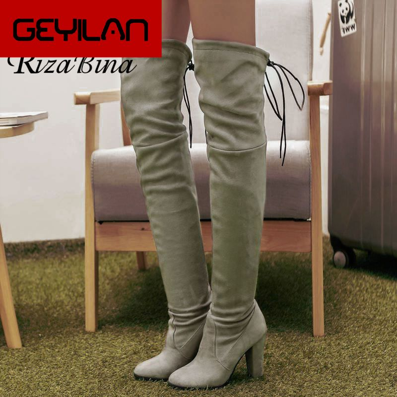 Sexy Lady Plus Size 33-46 Square Heels Long Boots Over The Knee Boots For Women Soft Cross Strap Casual Shoes Footwear