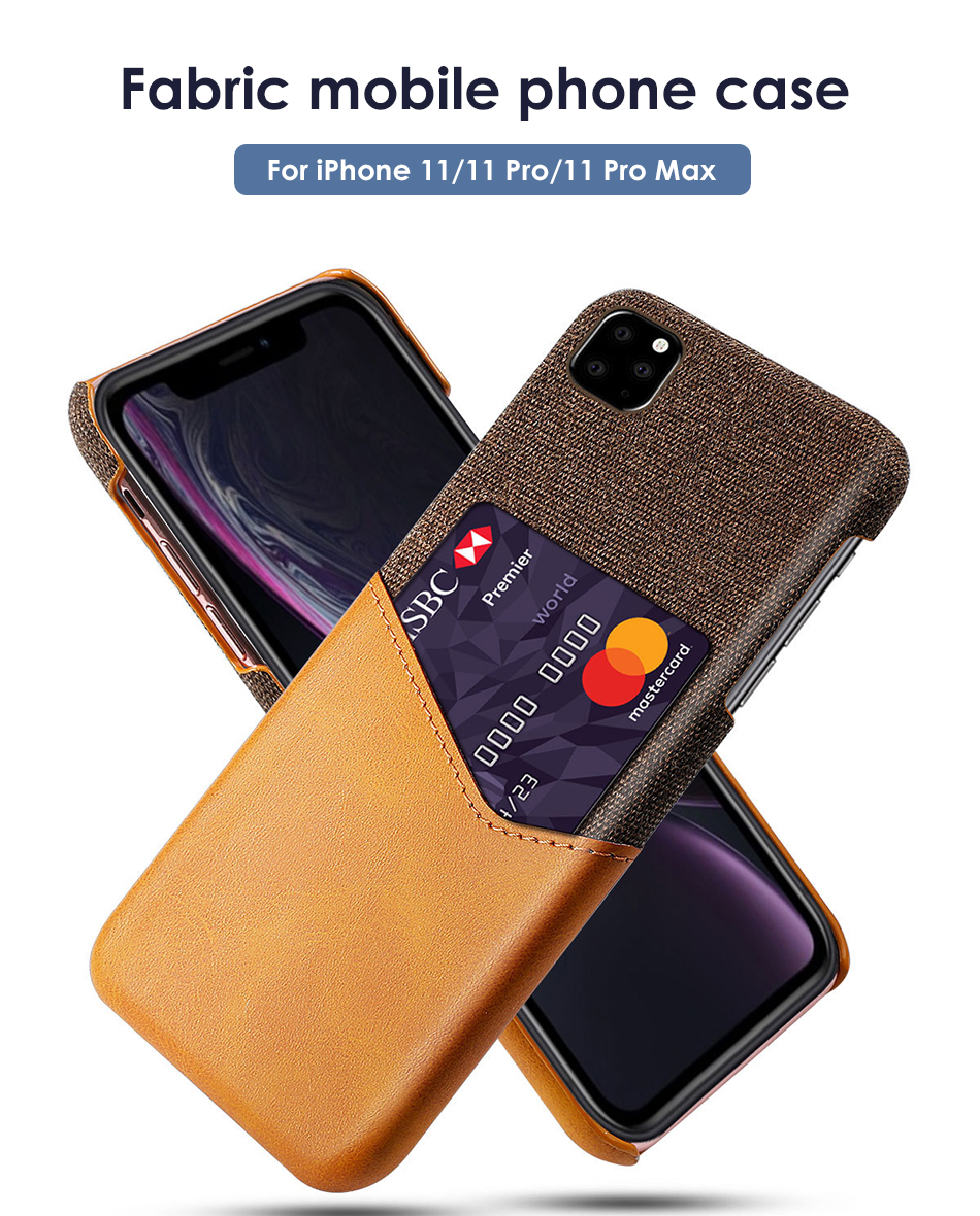 !ACCEZZ Fabric Phone Case For iPhone 11 Pro Max Case Protection Back With Card Pocket Anti-slip Shell Cover Business Coque Capa (1)