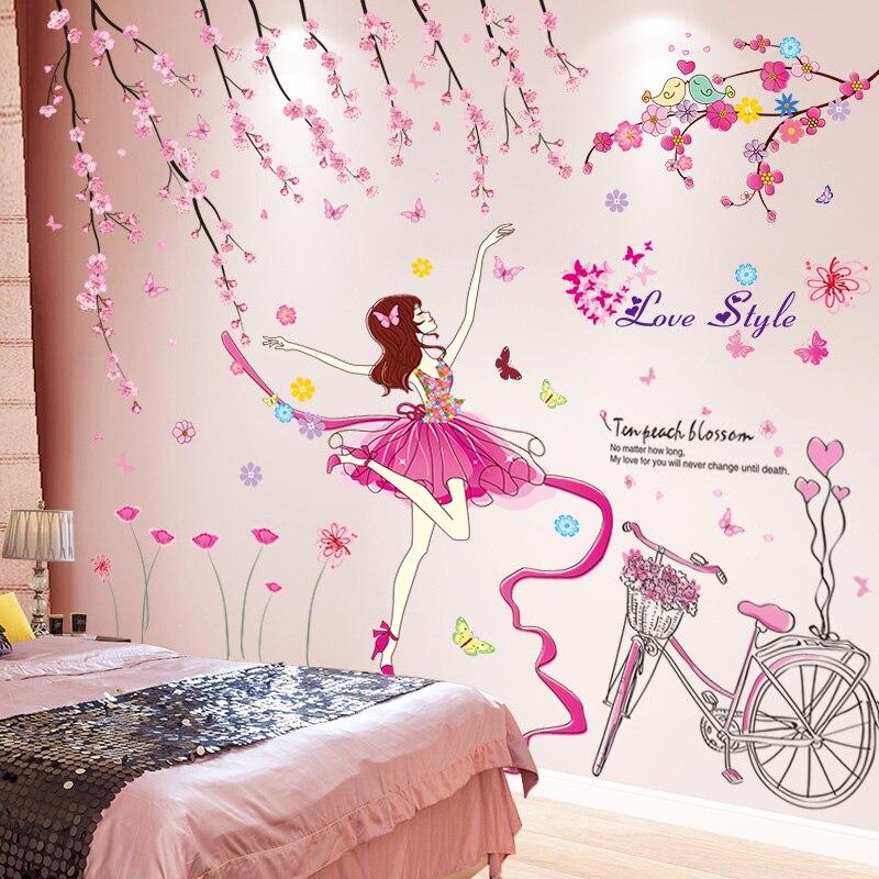 [Shijuekongjian] настенные наклейки для девочек с героями мультфильмов, танцовщицы, самодельные персиковые цветы, велосипедные настенные наклейки...
