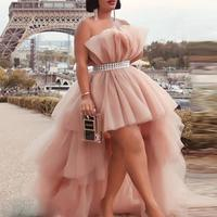 Dusty Pink Hi Low Prom Gown Formal Dress Girl Puffy Tulle Cocktail Party Dresses High Low robe de soiree Beaded Sashes Custom