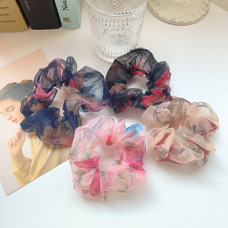 Woman Vintage Organza Scrunchies Flower Hair Ties Girls Ponytail Holders Rubber Band Elastic Hairband Women Hair Accessories