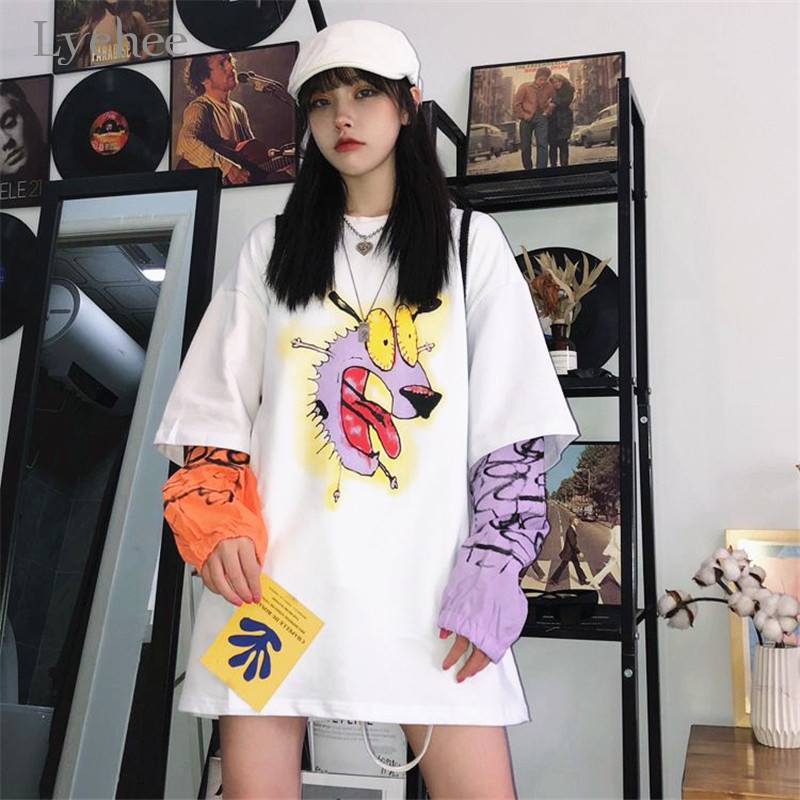 Lychee Harajuku Patchwork Hit Color O-neck Female Pullovers Cartoon Dog Letter Women Sweatshirts Fake 2 Pieces Autumn Lady Tops