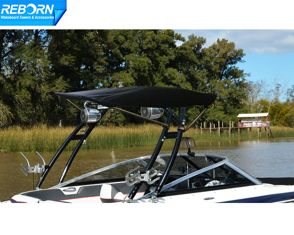 Reborn Pro3 Foldable Boat Wakeboard Tower Bimini Top Black Canopy- 2200V