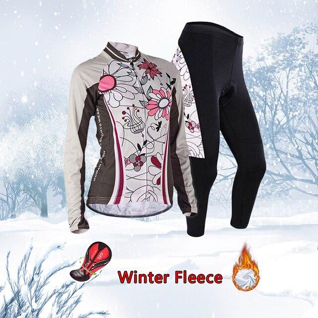 Frete grátis feminino inverno ciclismo conjunto jérsei 2020 velo térmico roupas de bicicleta mtb skinsuit feminino roupas uniforme kit 3