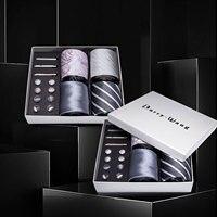 Men Ties Gray Sliver Floral Silk Men Wedding Necktie Handkerchief Gift Box Set Male 4pcs Ties For Men Gift Barry.Wang BB4 07