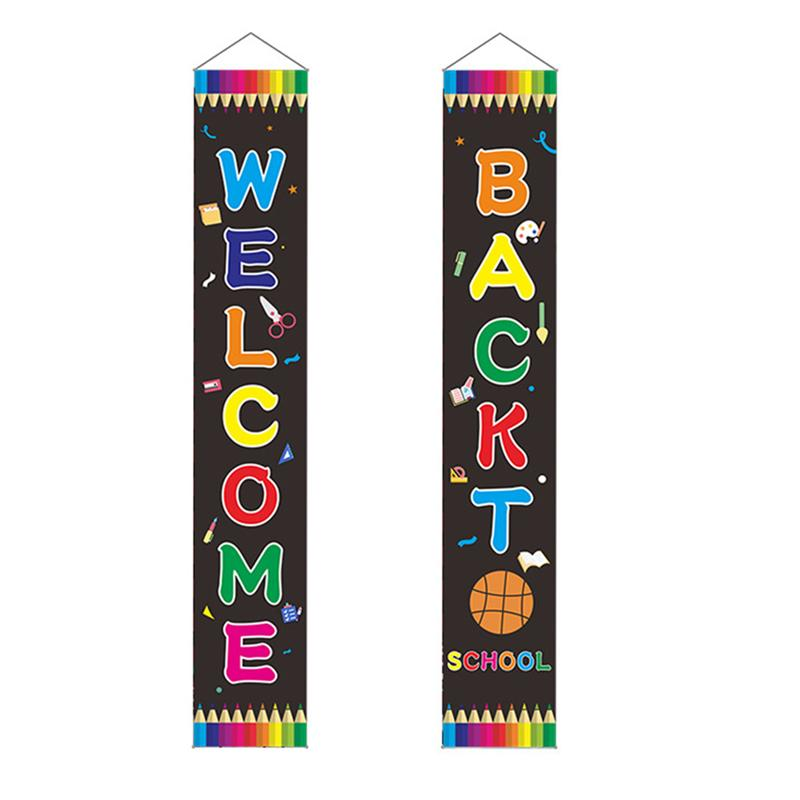 1 Pair Back To School Couplets  Welcome Banners Door Hanging Banner Decoration