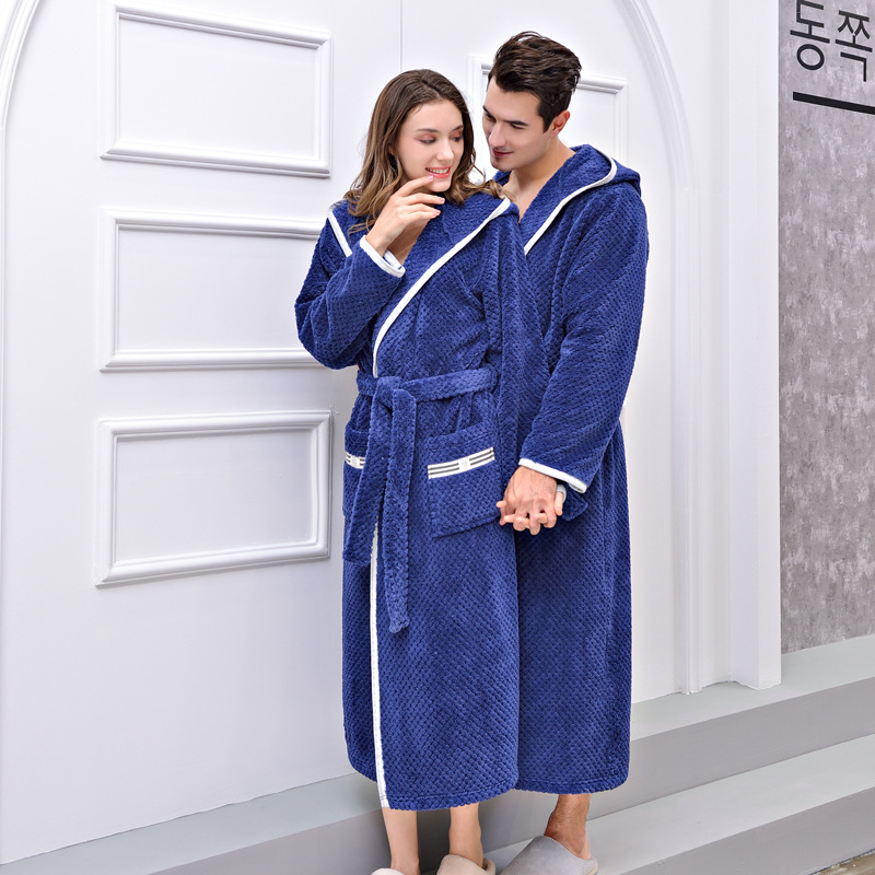 Men Women Thermal Luxury Flannel Long Bath Robe Winter Sexy Grid Fur Bathrobe Warm Kimono Dressing Gown Bridesmaid Robes