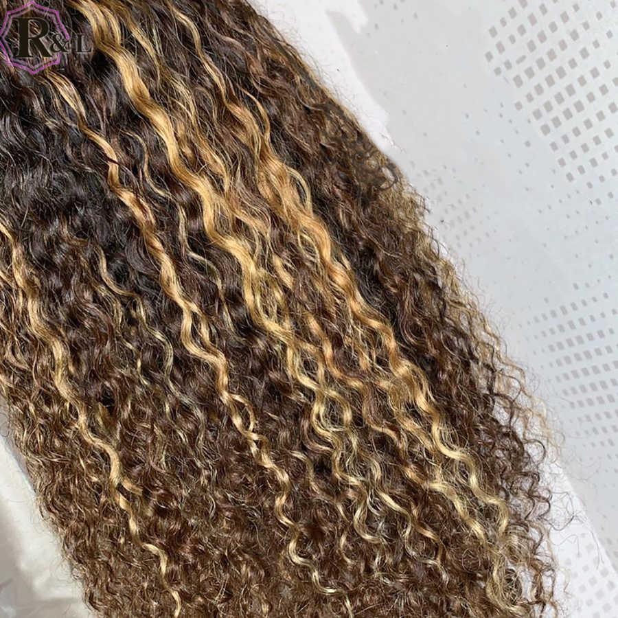 RULINDA, pelucas de cabello humano con frente de encaje rizado de densidad 250% con cabello de bebé, cabello Remy brasileño de color Ombre, pelucas con Frontal de encaje 360
