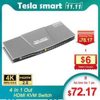 Tesla smart Gray High Quality HDMI 4K@60Hz HDMI KVM Switch 4 Port USB KVM HDMI Switch Support 3840*2160/4K*2K Extra USB2.0 Port - DISCOUNT ITEM  5% OFF All Category