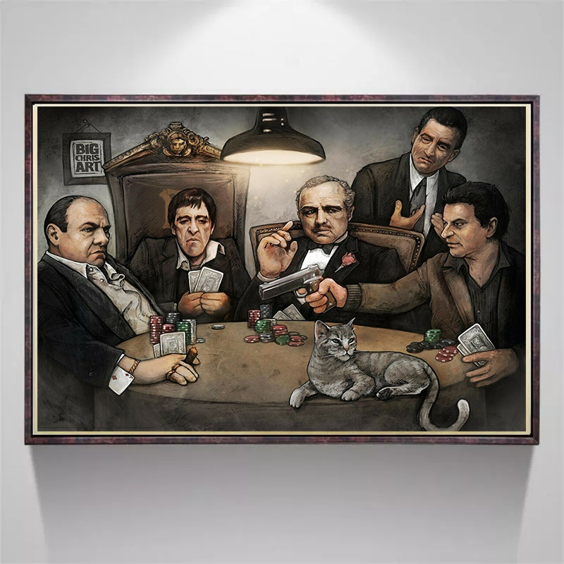 Classic Movie Gangsters Godfather Scar face Art Poster Canvas Painting Wall Picture Posters and Prints for Living Room Decor image