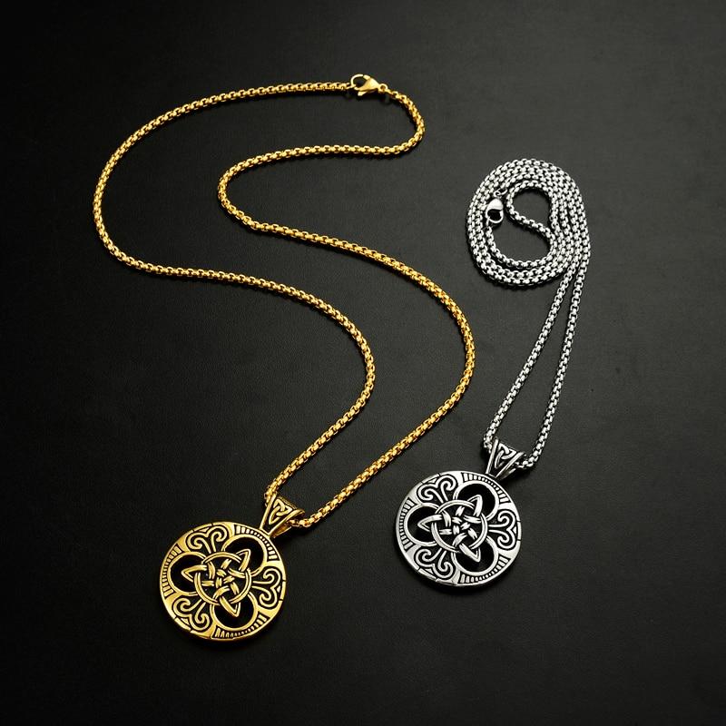 Muški srebrni irski čvor Triquetra ogrlica od nehrđajućeg čelika - Modni nakit - Foto 3