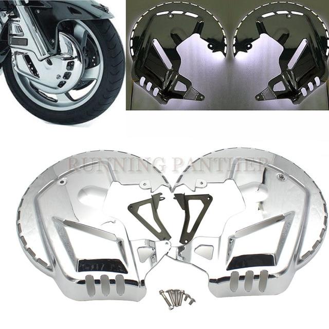 Motosiklet aksesuarları krom FREN DİSKİ rotorlar kapakları kırmızı mavi beyaz led ışık Honda GOLDWING GL1800 2001-2015