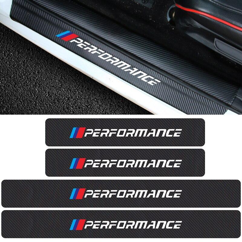 4 шт. наклейки на порог автомобиля, наклейки на порог двери, Нескользящие наклейки из углеродного волокна для BMW M Performance E46 E39 X5 X6 E36 E90 E91