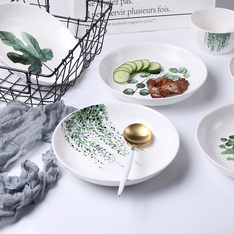 Nordic Plant Plate Creative Ceramic Dinner Plate Home Decor Plates Fruit Plate Kitchen Tableware Bowl Dishes and Plates Sets