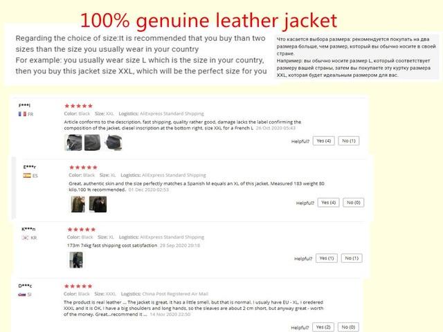 Men Leather Jacket Genuine Real Sheep Goat Skin Brand Black Male Bomber Motorcycle Biker Man's Coat Autumn Spring Clothes  zlg88 5