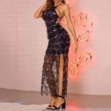 Prom Dress Long Women Bodycon Sleeveless Spaghetti Strap Tassel Backless Sequins Lace-Up Split Zipper Sexy Night Party Dresses charming spaghetti strap backless solid color bodycon dress for women