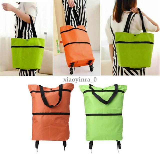 2020 Foldable Shopping Trolley Cart Foldable Reusable Eco Large Waterproof Bag Luggage Wheels Basket Non-Woven Market Bag Pouch 6