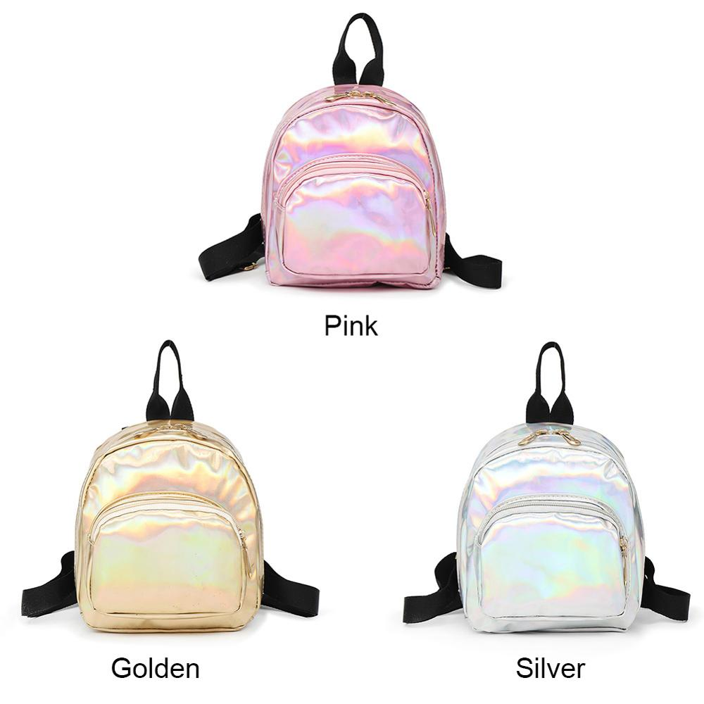 2019 Fashion Lady Bag Mini Backpack High Quality Girls School Bags Female Women's Glitter PU Leather Holographic Backpack