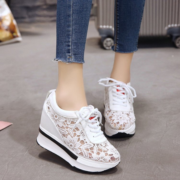 2019 Summer Women Shoes Wedge Mesh Lace Up Joker Small White Shoes Breathable Thick Bottom Platform Shoes Casual Sneaker Shoes