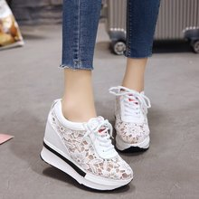 2019 Summer Women Shoes Wedge Mesh Lace Up Joker Small White