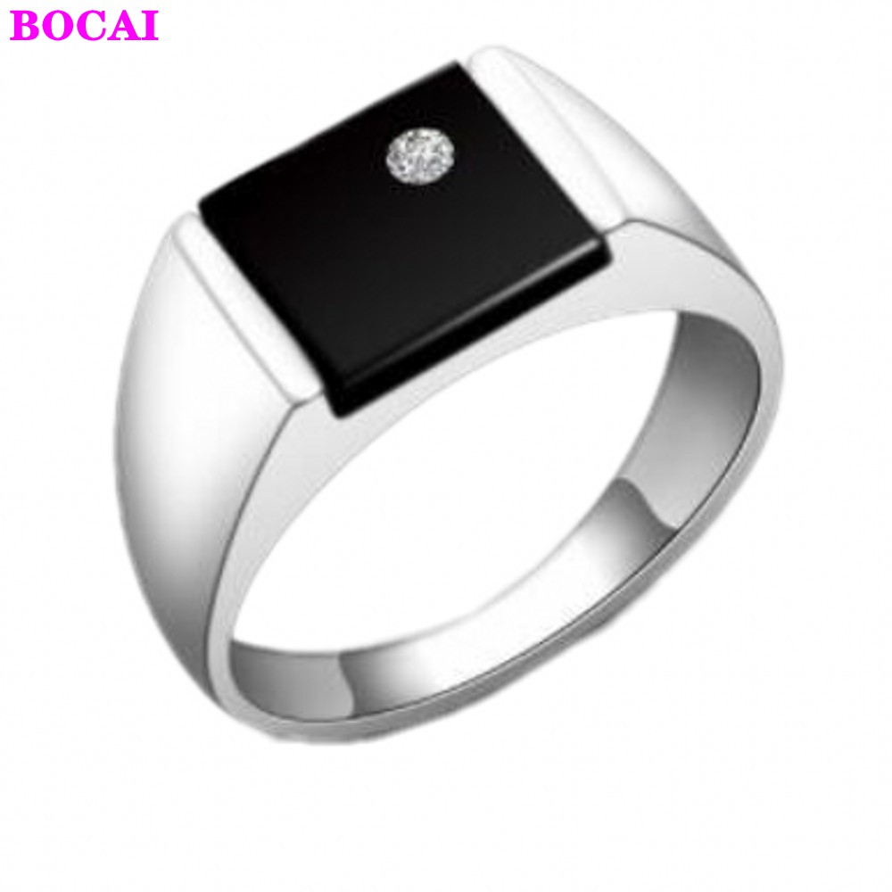S925 sterling silver rings for men and women square men's ring Black natural stone 2020 new fashion Thai silver male rings