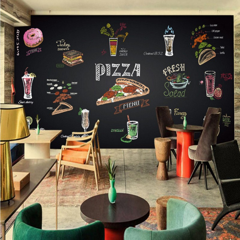 Dropship Photo Wallpaper Hand Painted Chalk Pizza Juice Mural Custom Restaurant Food Restaurant Wallpaper High Quality Mural