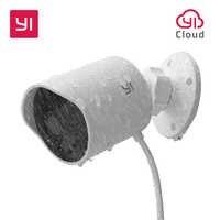 Yi câmera de segurança ao ar livre slot para cartão sd & nuvem ip cam sem fio 1080p à prova dwaterproof água visão noturna sistema vigilância segurança branco