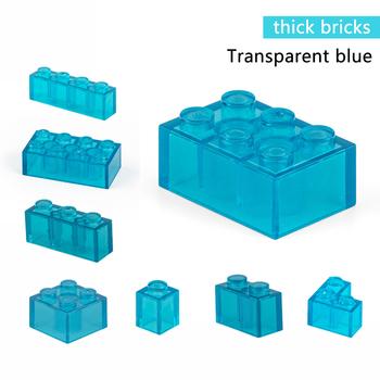 Przezroczysty niebieski klocki grube figurki cegły edukacyjne kreatywny rozmiar Fit inne marki plastikowe zabawki DIY akcesoria tanie i dobre opinie TUTU LALA CN (pochodzenie) 8 ~ 13 Lat Dorośli Z tworzywa sztucznego