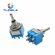 1pcs Blue 6-Pin DPDT ON-ON Mini MTS-203 6A125VAC Miniature Toggle Switches Button switch Dialing Single Power switches MTS203(China)