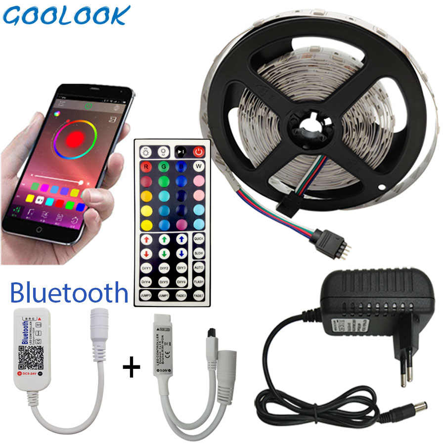 5M 10M 15M LED Strip RGB 5050 SMD Fleksibel Pita Fita Lampu LED Strip Rgbtape Diode DC 12V + Bluetooth Kontrol + Adaptor