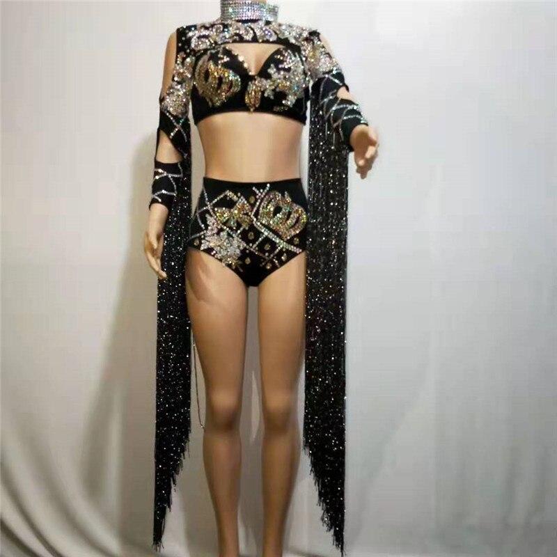 Y79-maillot de corps trois pièces Sexy   Avec des strass scintillants, noir, glands Bikini, ensemble trois pièces, Costumes de scène, robe de soirée, vêtements, soutien-gorge