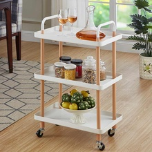 3-Tier Nordic Style Rolling Trolley Square Kitchen Storage Rack Organizer Cart with Wheels For Home Office 36x54x85cm