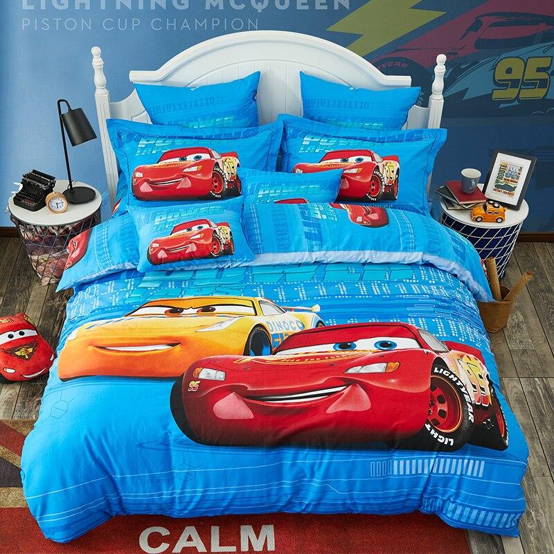 Home Textile Disney MC Queen Car Spiderman Super Hero 3D Bedding Set Boy Bedroom Decoration Blue Down Quilt Cover 3/4 Piece