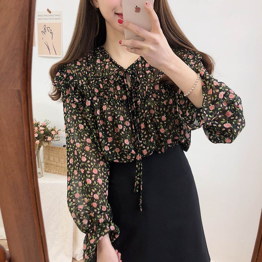 Hd7648e55e90c4d4c88a7e9c7e9e1c689Y - Spring / Autumn Lace-Up Collar Long Sleeves Floral Print Blouse