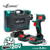 LANNERET 20V Electric Screwdriver Cordless Screw Driver Impact Drill 150NM Variable Speed Rechargeable Drill BMC Box Electric Screwdrivers     -