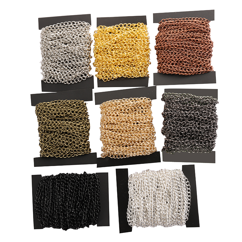 2m/lot 2.5/3.5/4.5mm Necklace Chains Rhodium/Silver/KC Gold/Gunblack/Antique Bronze Color Flat Chain DIY Jewelry Making Supplies