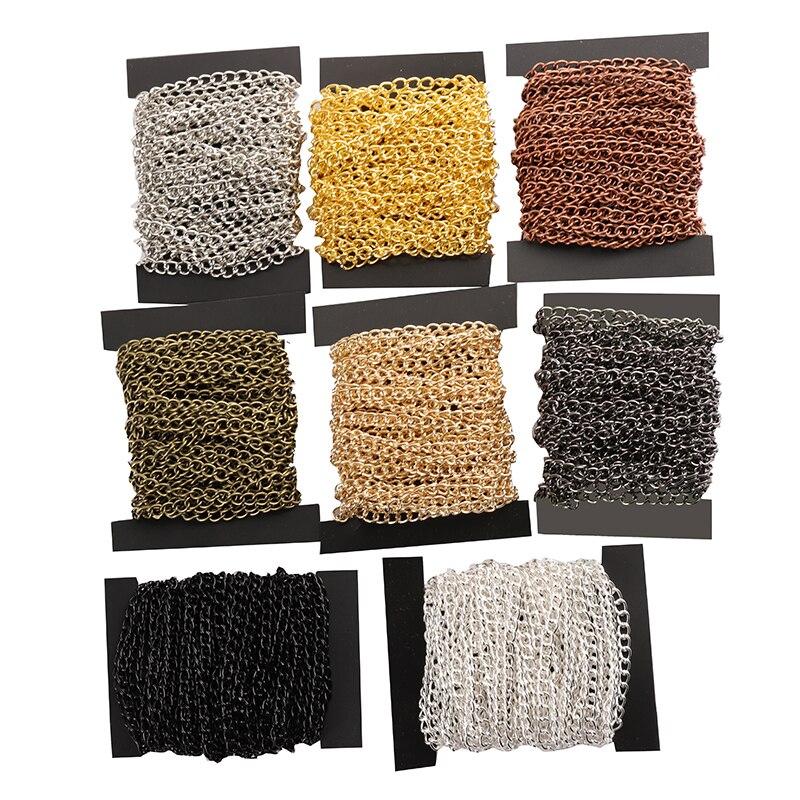 2 м/лот, цепочки для ожерелий 2,5/3,5/4,5 мм, Родиевые/Серебристые/KC золотистые/черные/антикварные, бронзовые, плоские цепочки, принадлежности для...