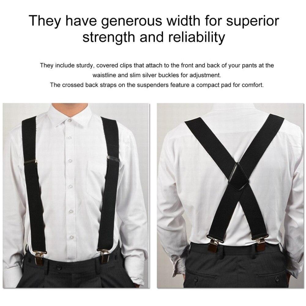 Мужские подтяжки с зажимом 130 мм y-образные регулируемые прочные подтяжки 2018 модные однотонные эластичные ремни подтяжки